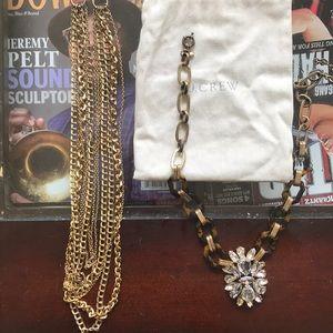 Jewelry - J. Crew 4 Necklace plus one beauty grab bag bundle